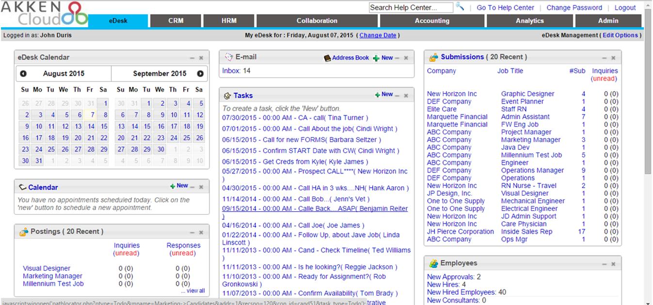 AkkenCloud screenshot: The AkkenCloud dashboard gives users an overview of tasks, job posting, and submissions
