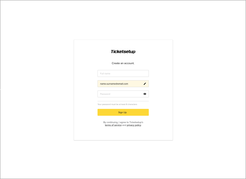 Ticketsetup account setup screenshot