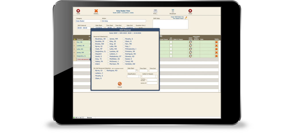 Daily duty rosters can be created and any absences tracked