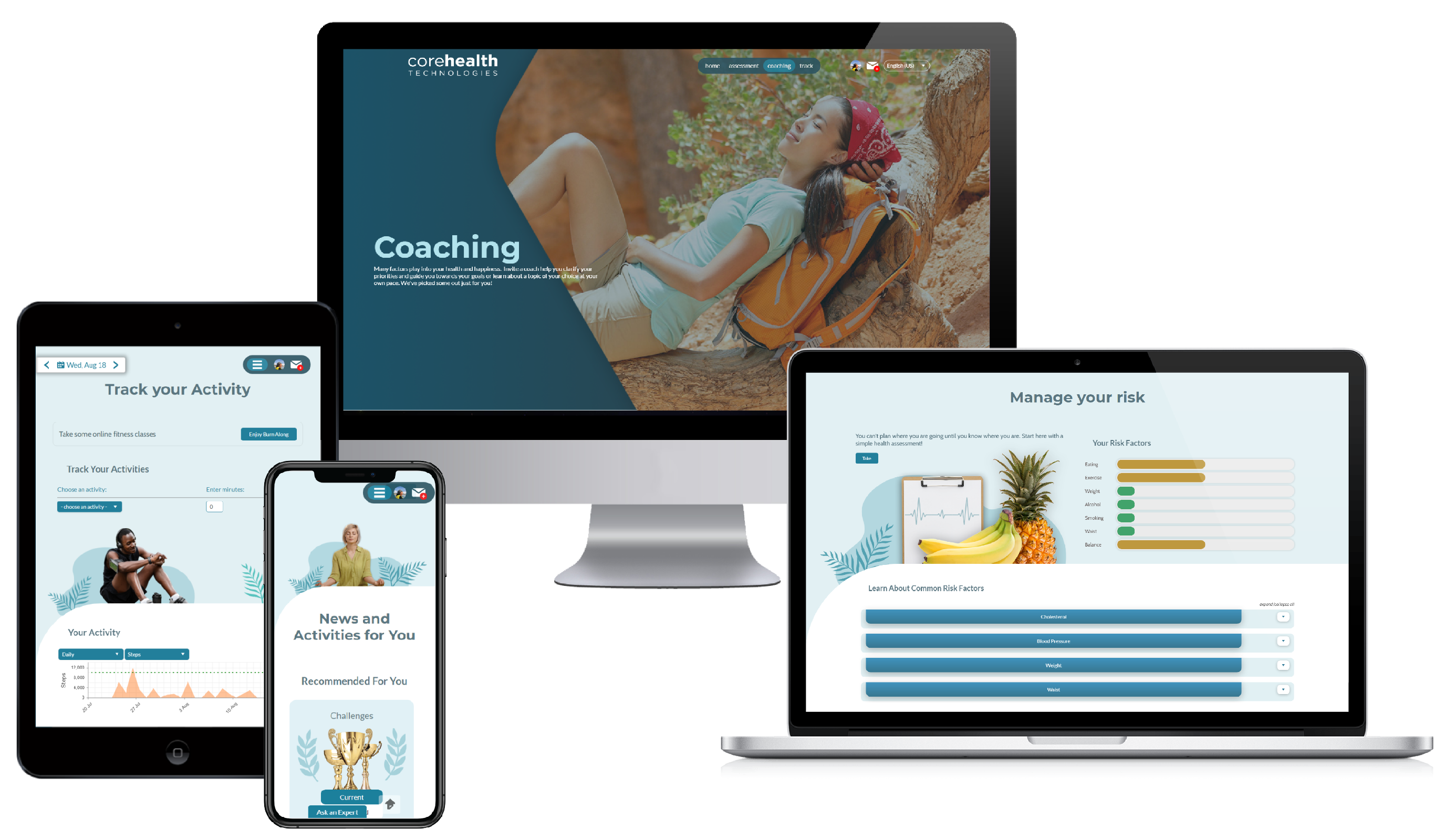 CoreHealth supports Coaching Programs, Challenges, Activity Tracking, HRA's and more!