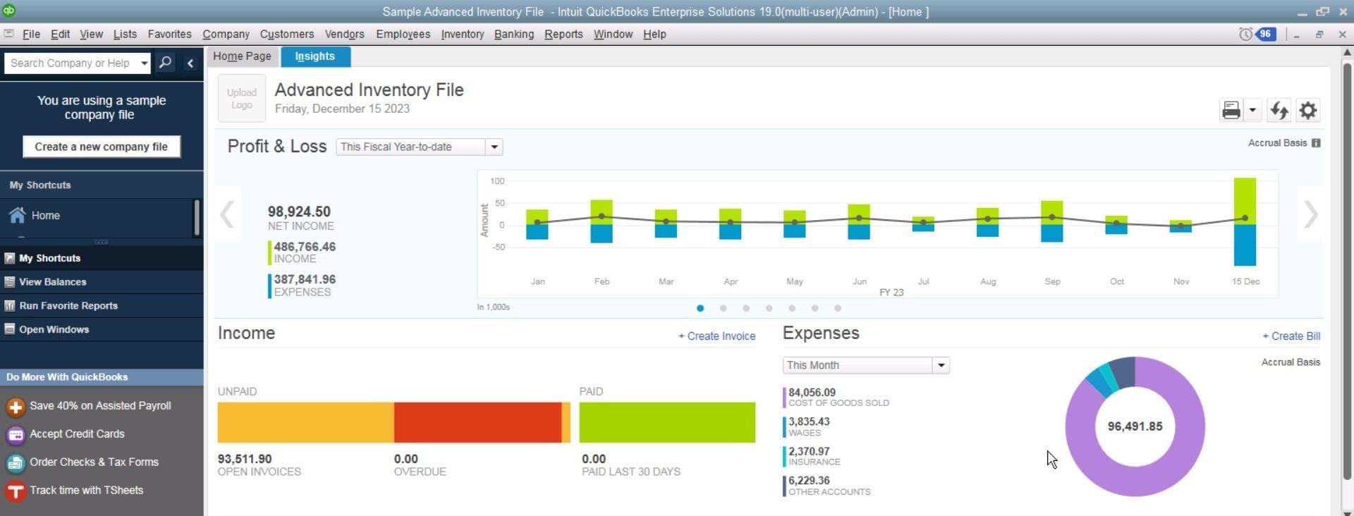 QuickBooks Desktop Enterprise Software - QuickBooks Enterprise Advanced Inventory File
