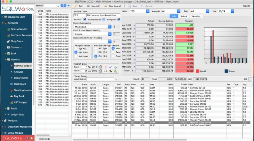 SQLWorks nominal ledger