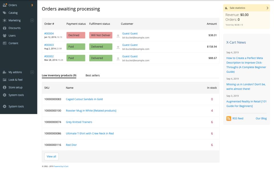 X-Cart orders awaiting processing