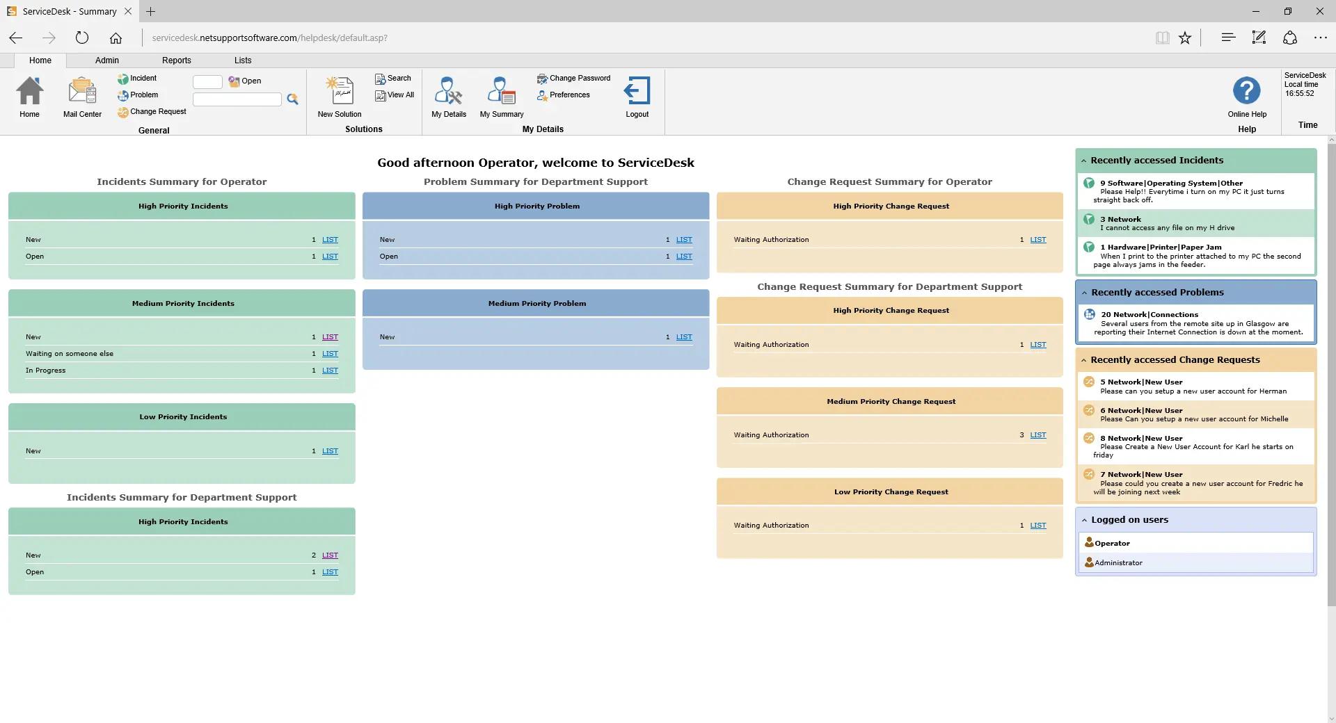NetSupport ServiceDesk - Summary view of helpdesk activity