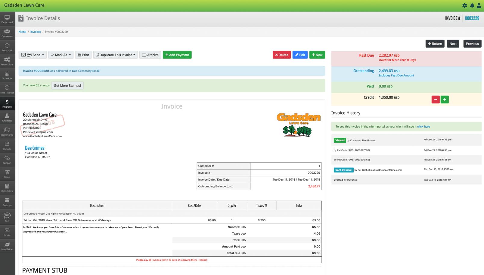 LawnPro invoice details