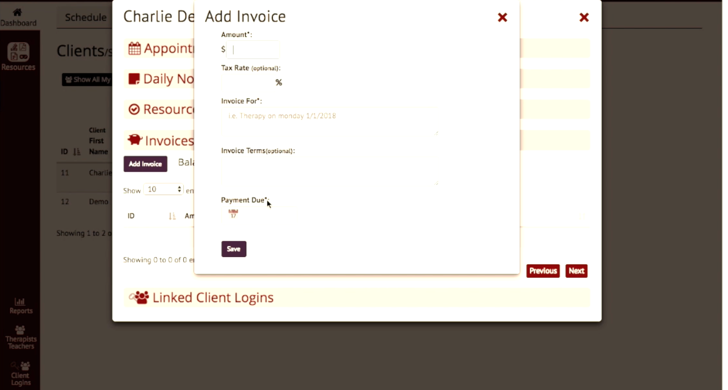 Invoices can be generated within Blink Session and sent to clients for payment