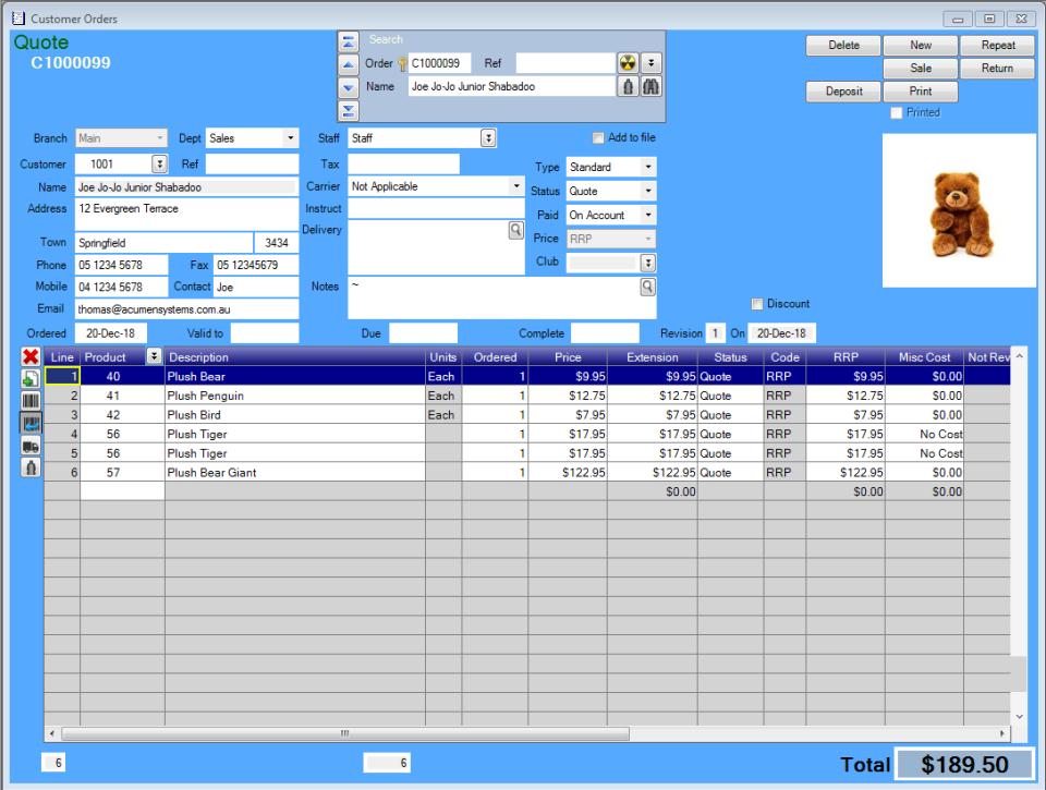 Acumen screenshot: Acumen customer orders