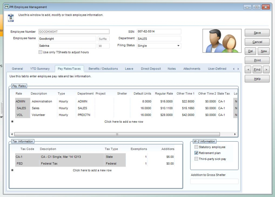 The system allows employee pay rates and tax information to be entered and referenced