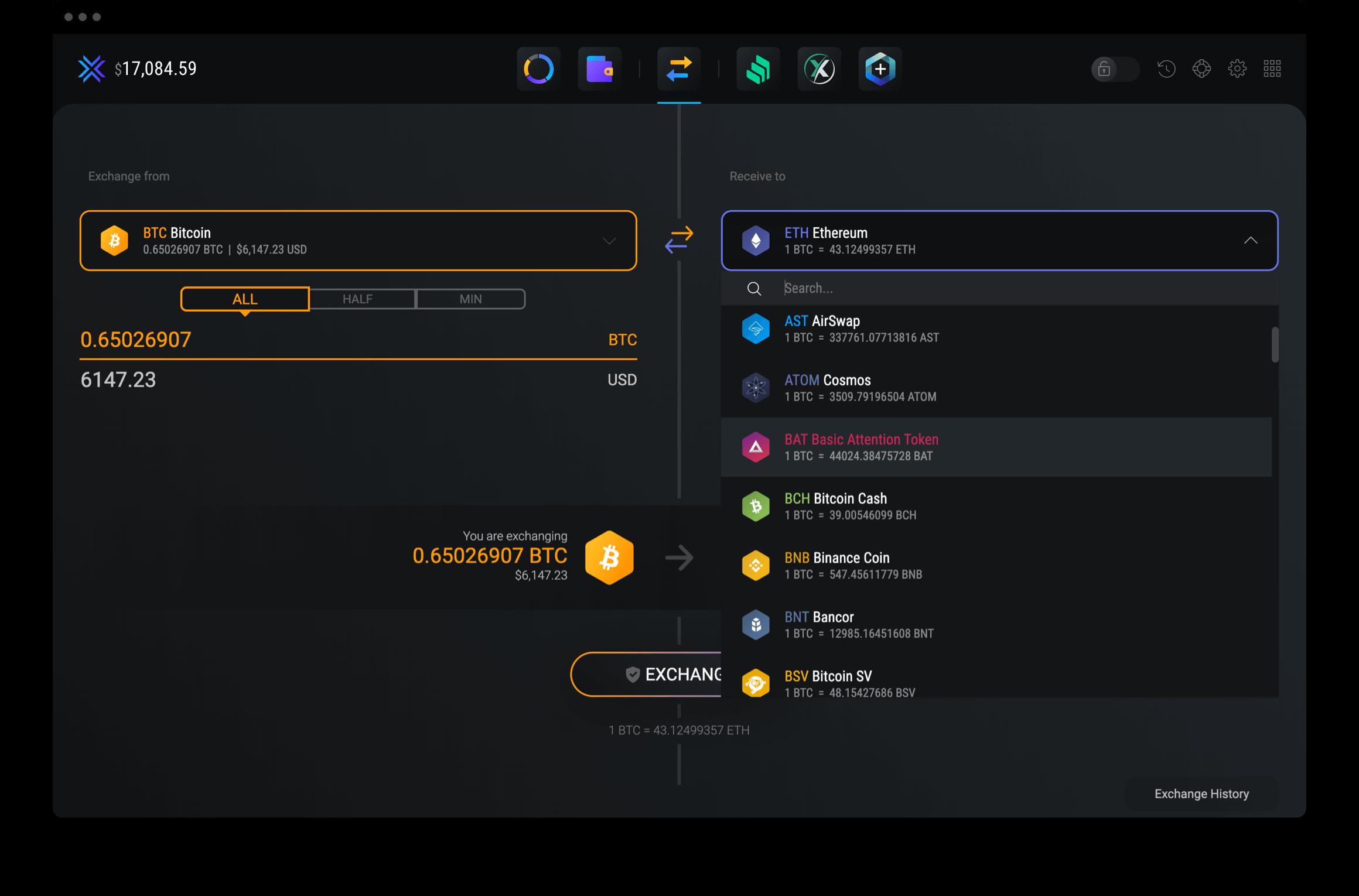 Exodus manage exchanges
