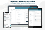 Boardable screenshot: The Agenda Builder empowers administrators with templates for quick agenda building and provides board members with dynamic PDFs delivered via email and agenda landing pages with private annotation.