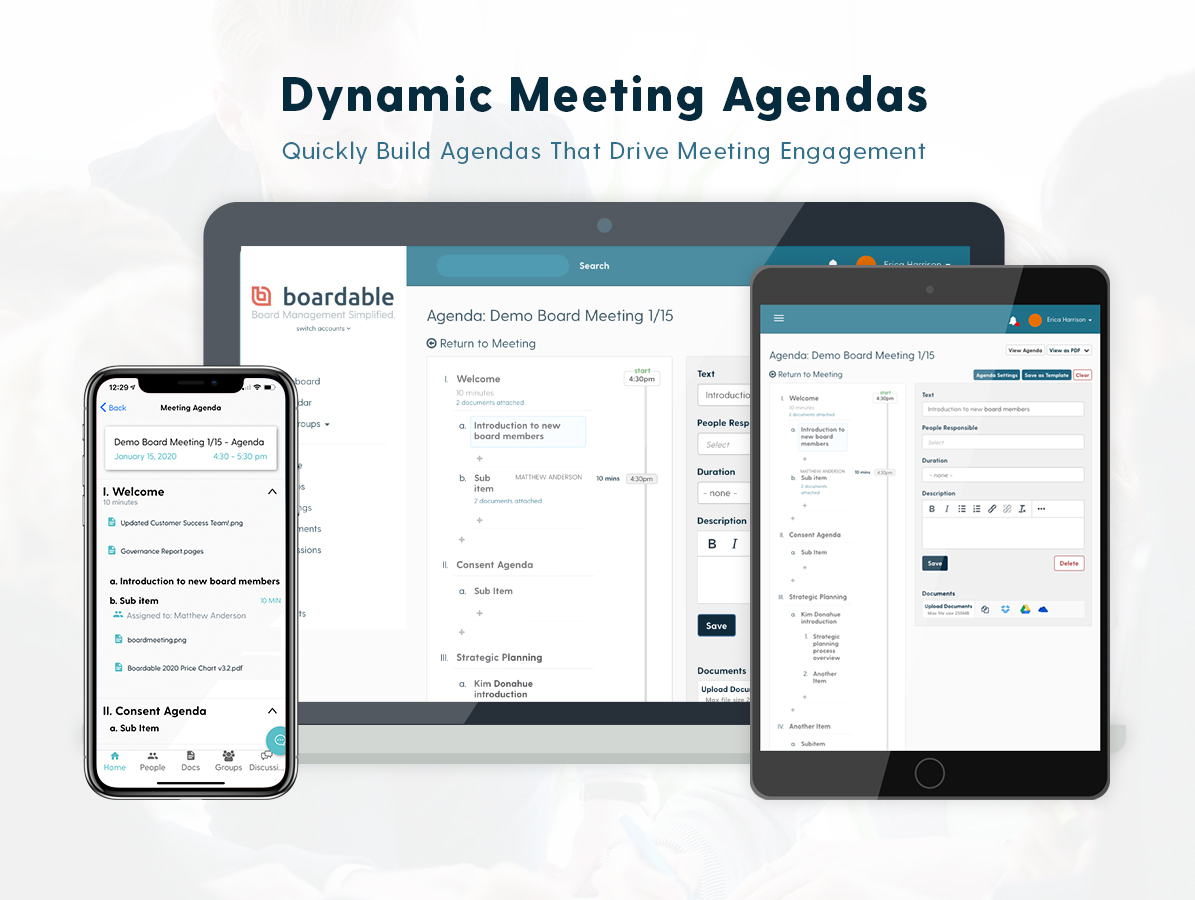 The Agenda Builder empowers administrators with templates for quick agenda building and provides board members with dynamic PDFs delivered via email and agenda landing pages with private annotation.