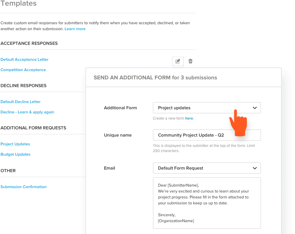 Send automated submission responses using templates