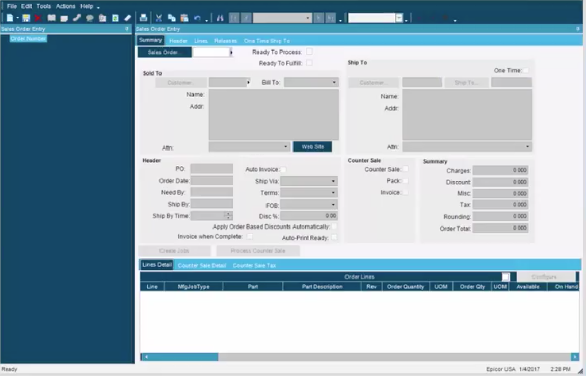 The sales order entry screen can be personalized for each business's needs