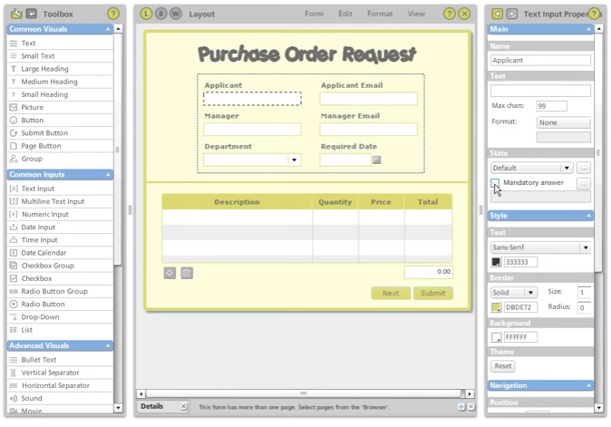 PerfectForms Software - Purchase order request