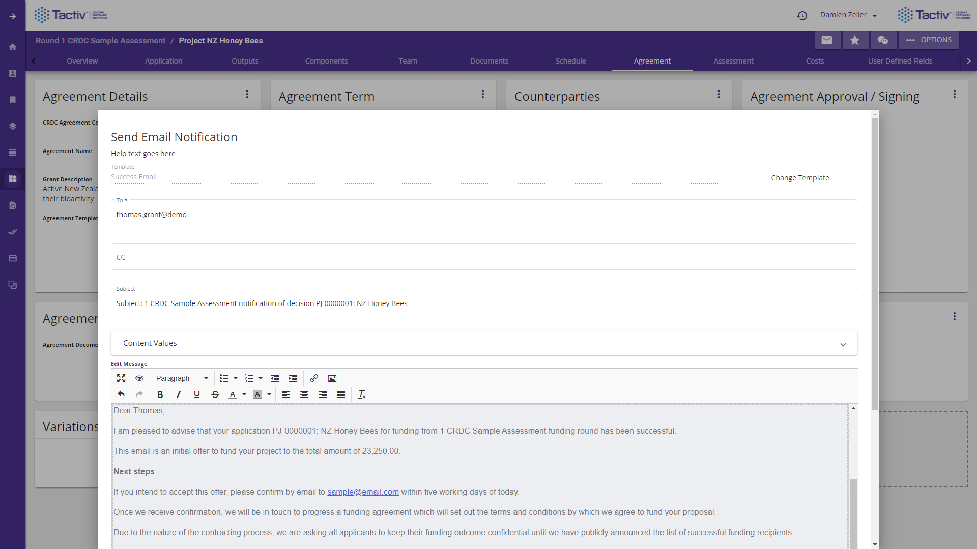 Enquire Software - Notify applicants of acceptance with configurable email templates