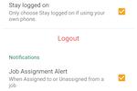 JobDiva screenshot: Configure user profile settings and mobile alerts