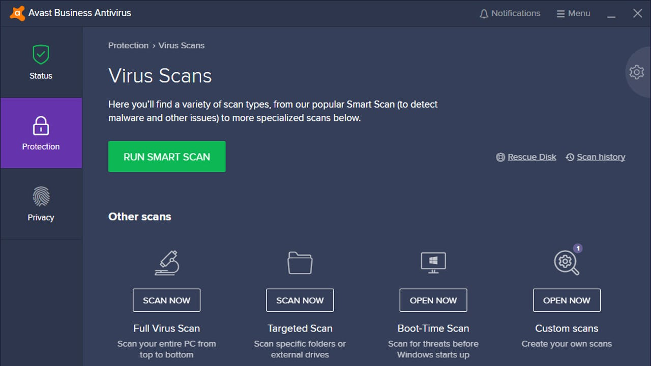 Avast Business Antivirus virus scans