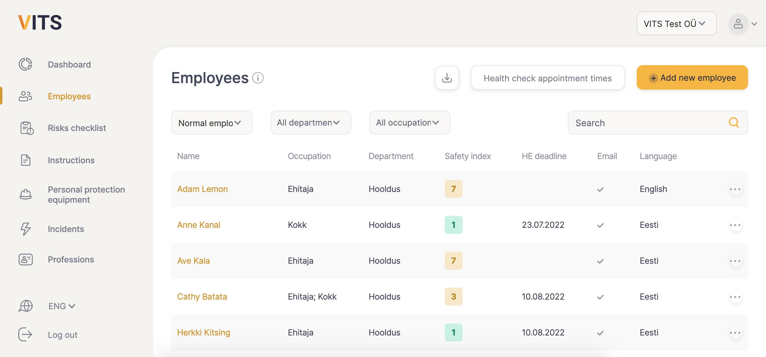 VITS employee data