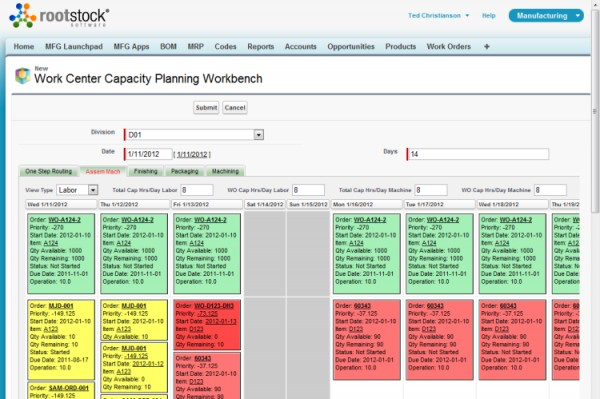 Rootstock's drag & drop interface for planning orders