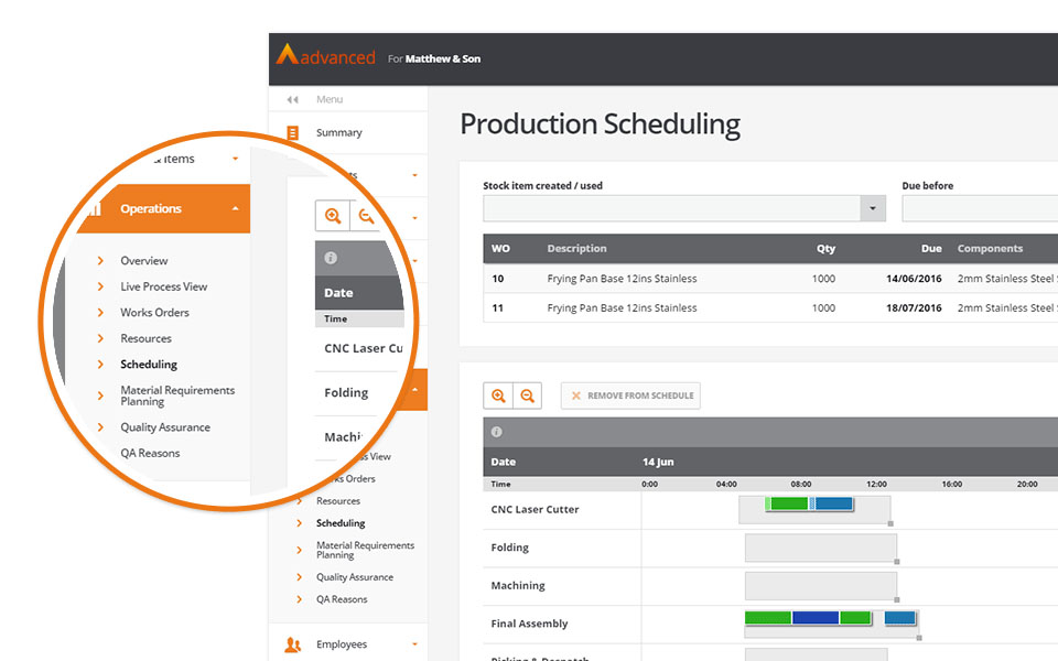Managers can use the scheduling module to streamline production