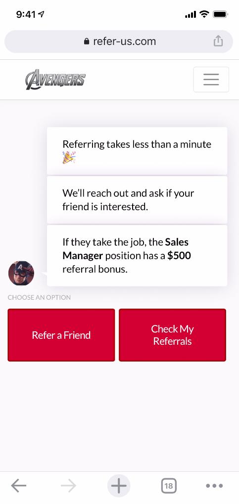 ReferIQ mobile interface