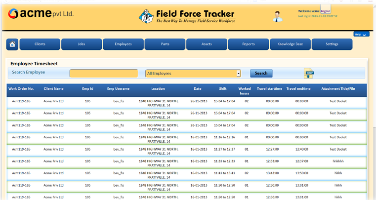 Employee working and travel time can be tracked