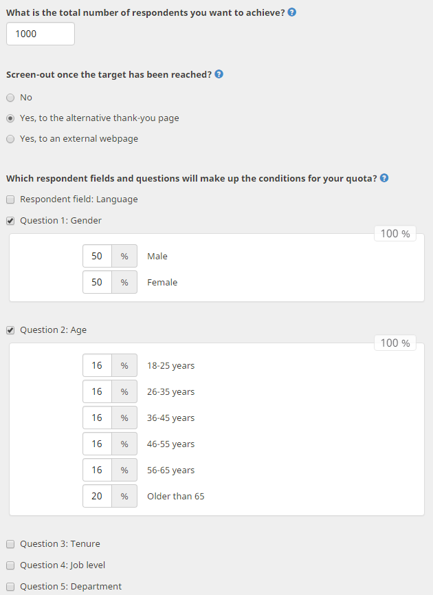 Users can set up respondent quotas for each survey in CheckMarket