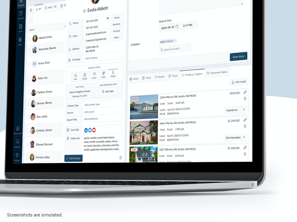 CRM includes a free MLS integration to save properties