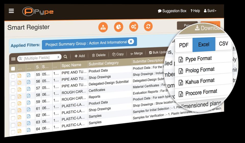 Autospecs export in custom format