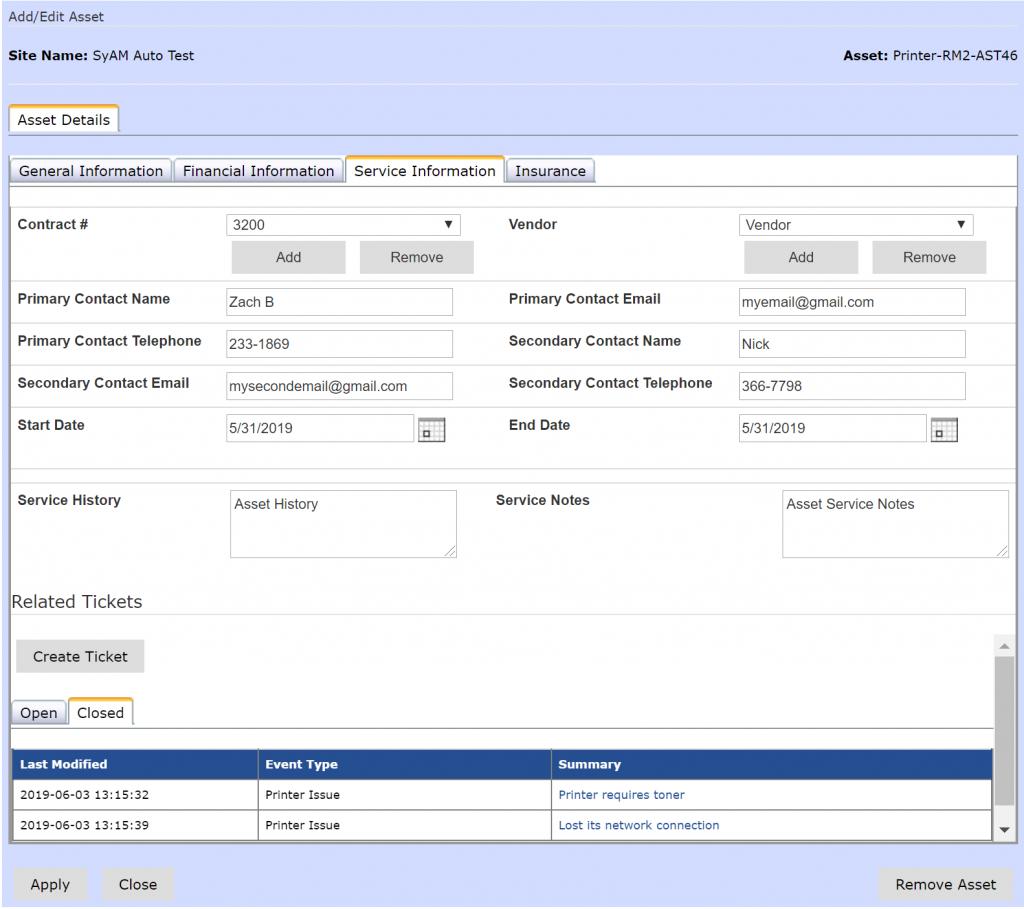 SyAM asset service information