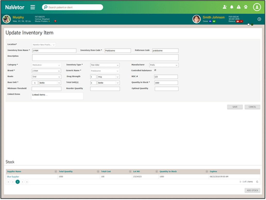 NaVetor inventory management screenshot