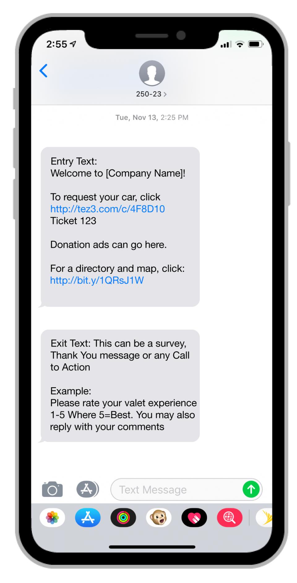SMS Valet screenshot: SMS Valet welcome messages