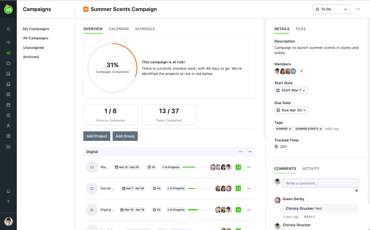 inMotion ignite screenshot: The campaign overview gives you a pulse on the progress of all related projects and tasks. This view offers you oversight, transparency, and collaboration.