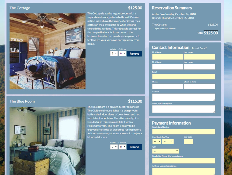 Edit the booking engine to create a custom look & feel