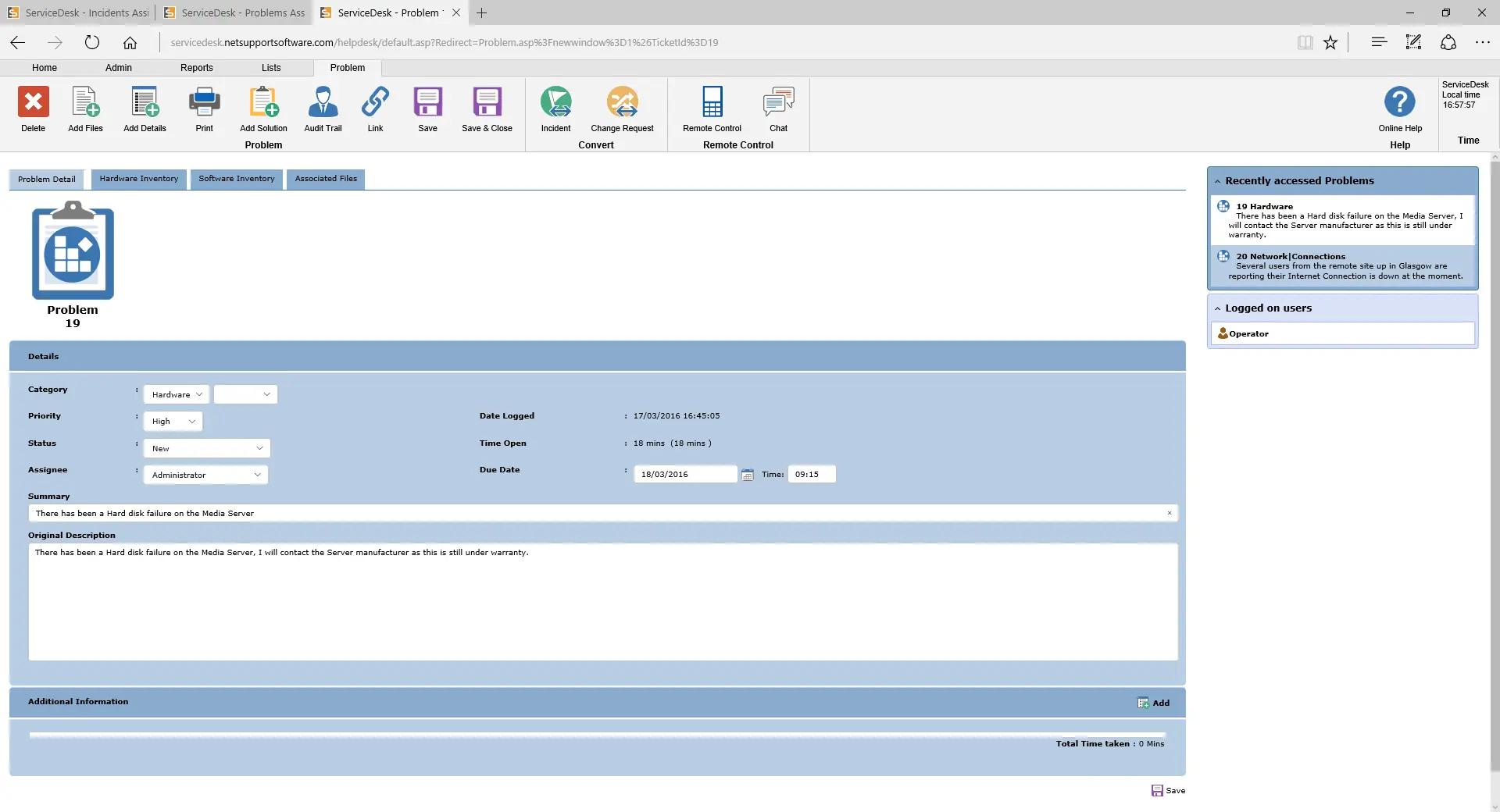 NetSupport ServiceDesk - Problem Management view