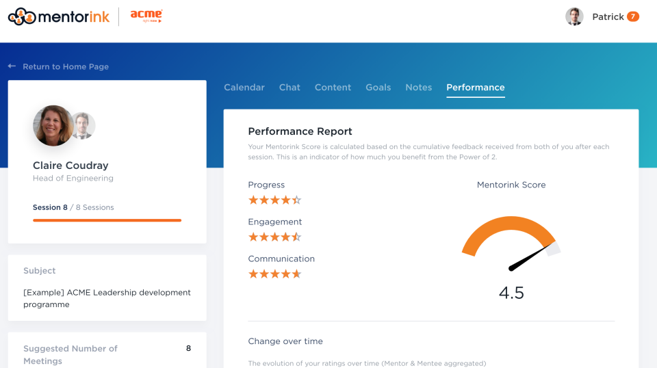 Mentoring pair page - feedback and performance