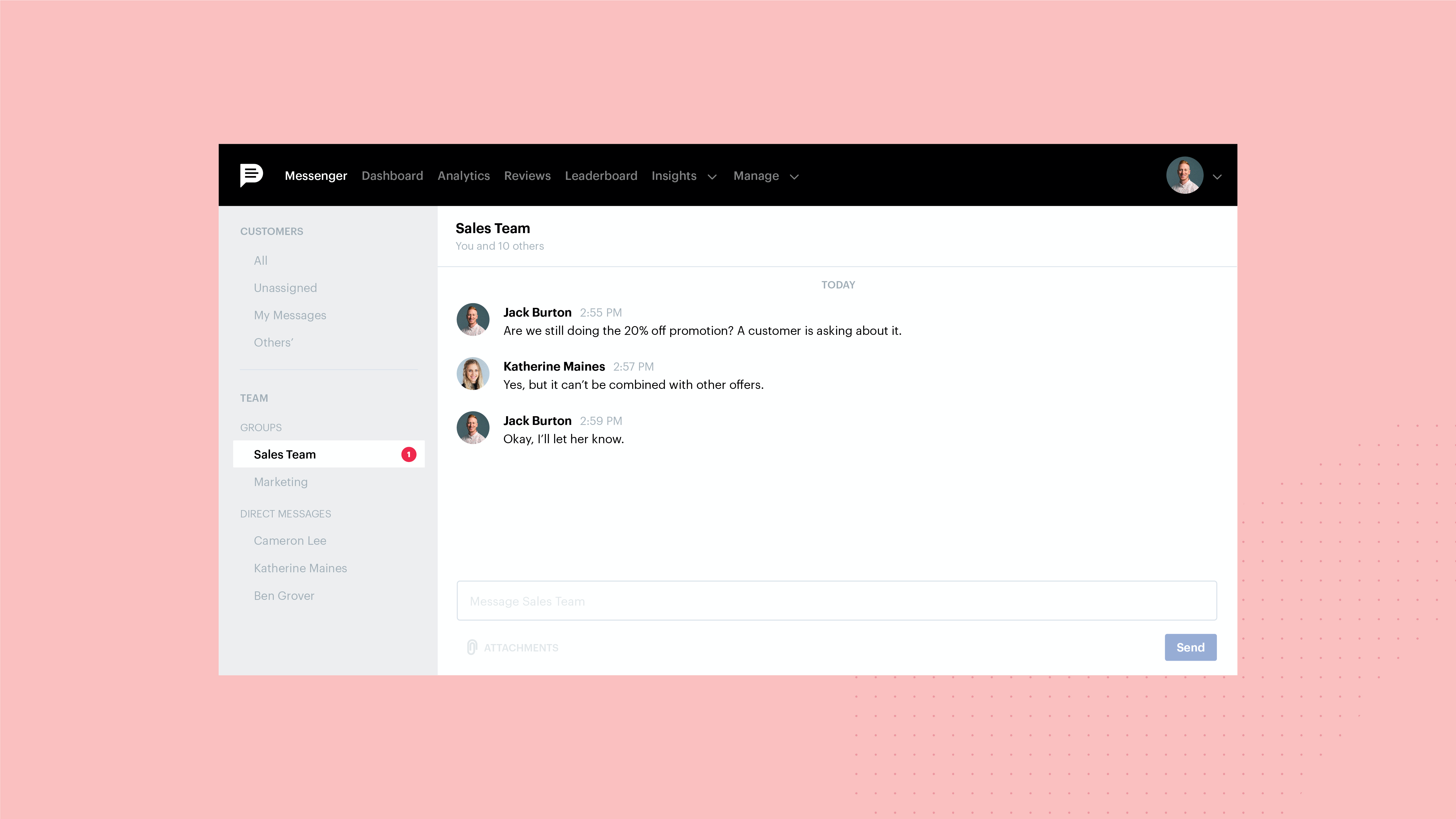 Podium Teamchat means private, secure team discussions to make sure you are all on the same page, can easily manage customer information and keep morale high.