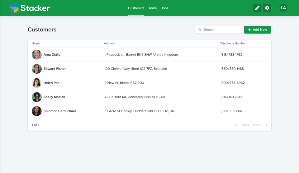 Stacker screenshot: Stacker custom interface