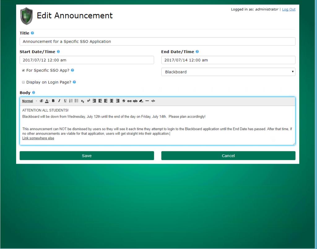 PortalGuard edit alert messages