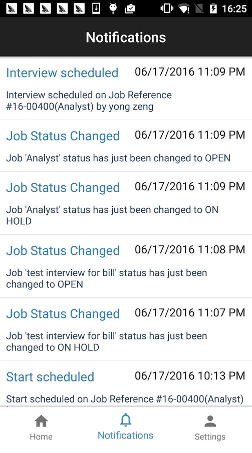 JobDiva screenshot: Receive automated alerts via push notifications