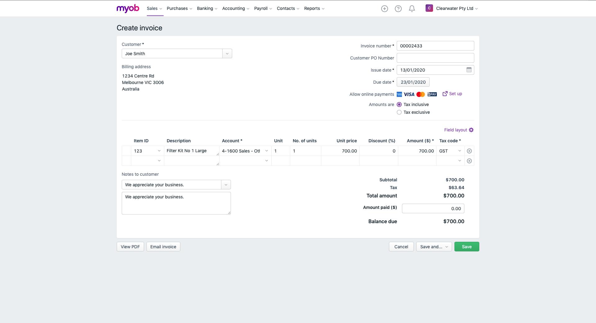 MYOB Essentials Software - Create invoice