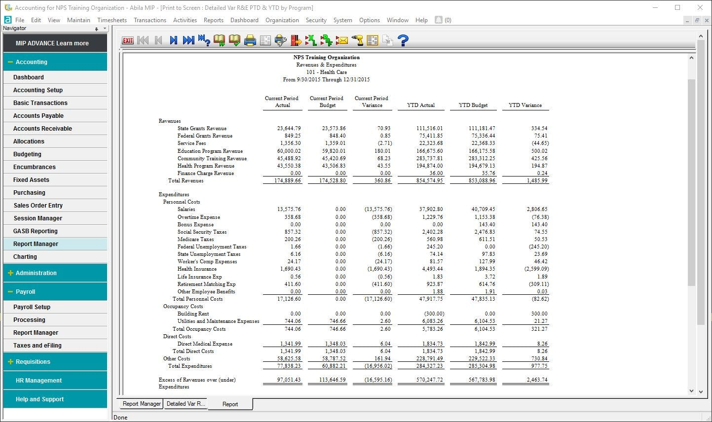 MIP Fund Accounting Software - Revenues and expenditures