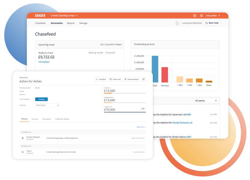 Keep track of all chasing activity in one place: View a consolidated communication history for every invoice and every customer in your CRM, capture all reminders sent and all replies from customers automatically