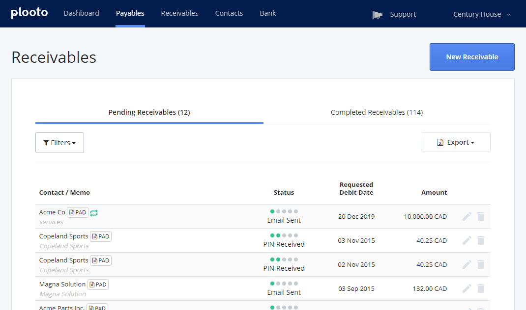 Plooto Accounts Receivable Dashboard | View all of your client's pending and completed receivables