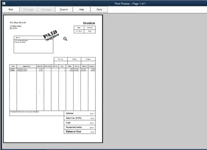 QuickBooks Desktop Pro Software - Invoice
