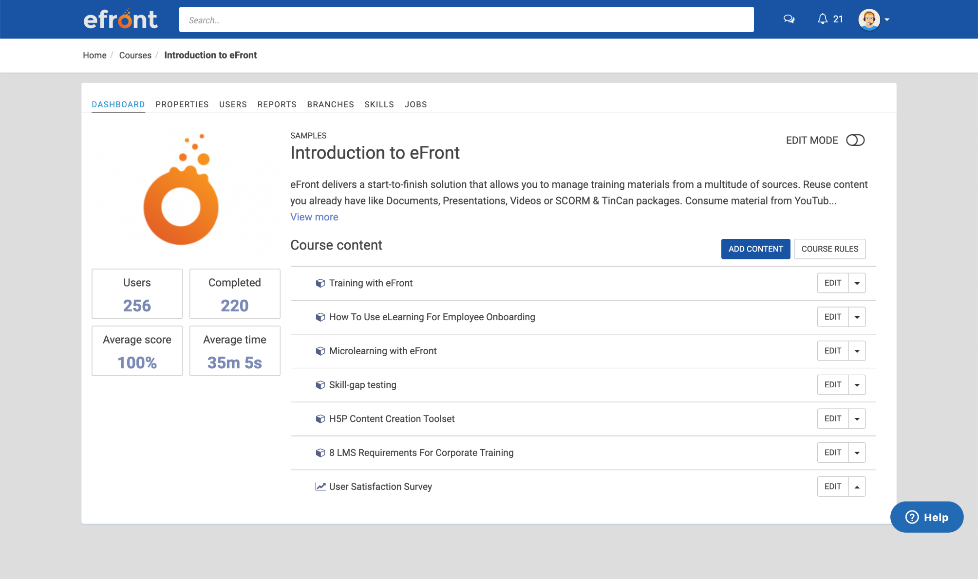 eFront learner view includes summary of the lessons within the course, as well as interactive information on users, completion and average score.