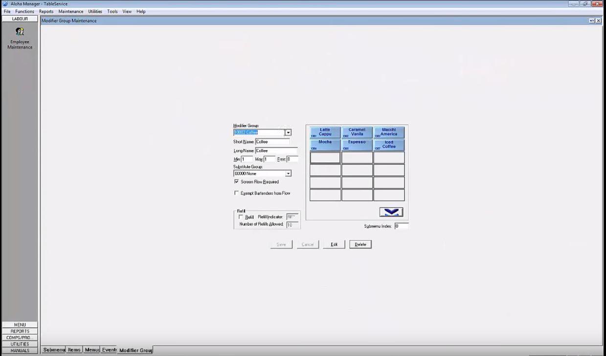 Aloha EPOS screenshot: Aloha group maintenance