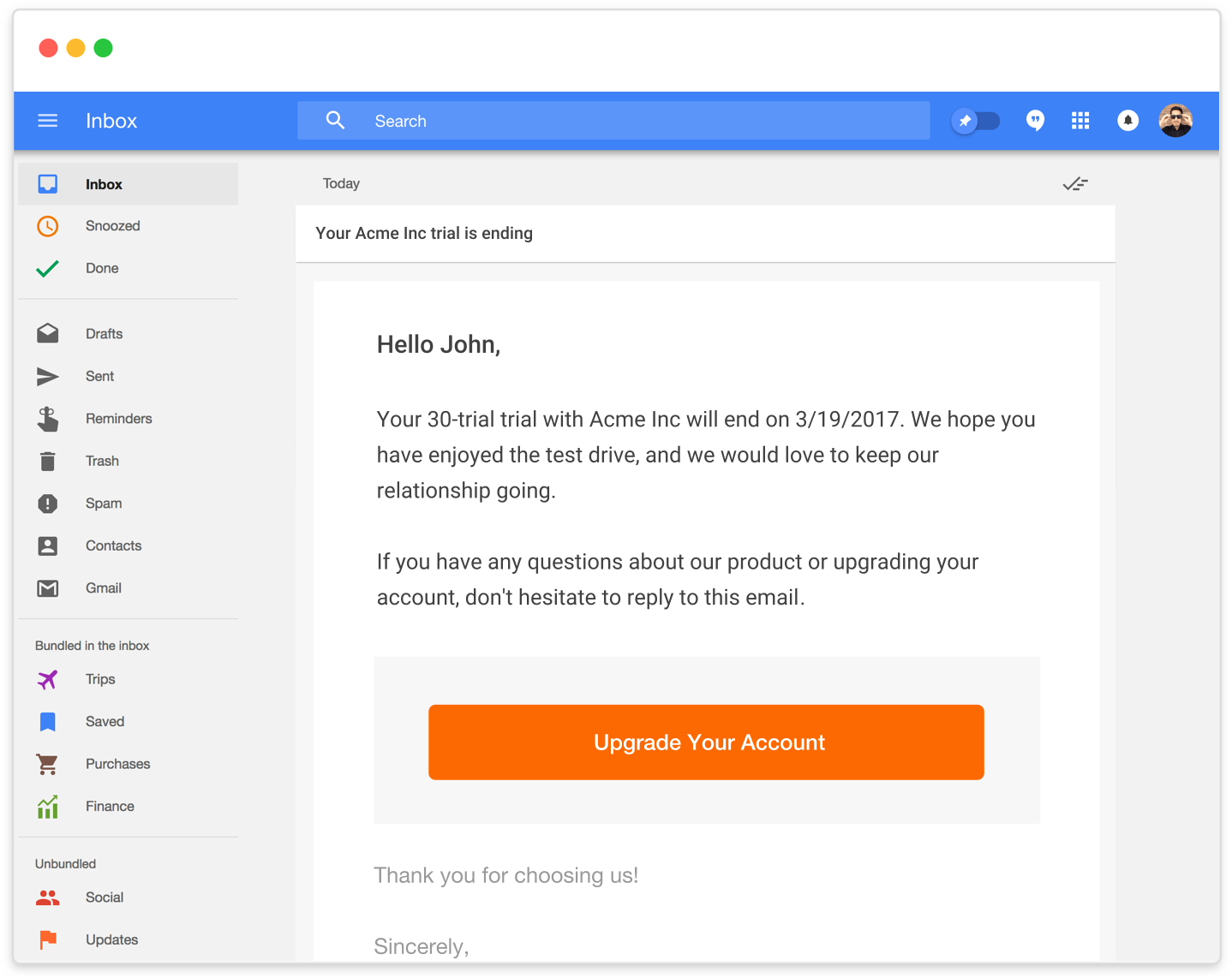 Send email communications to customer regarding their subscription