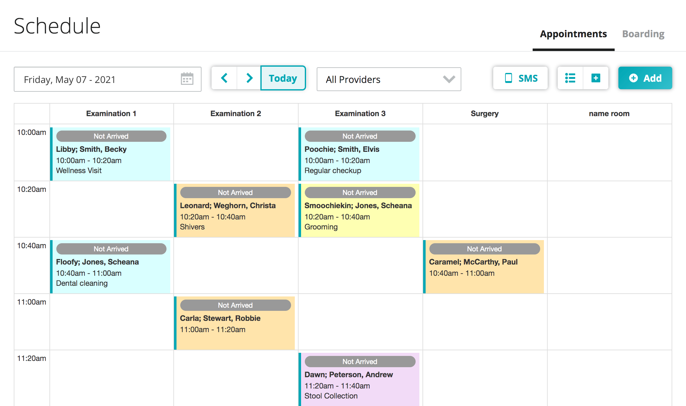 Appointment Scheduler: At-a-glance view of your day, appointment status and type.