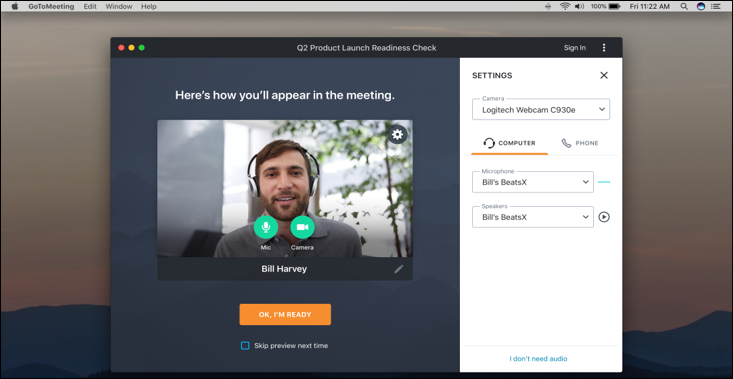 GoToMeeting screenshot: Join Meeting Preview